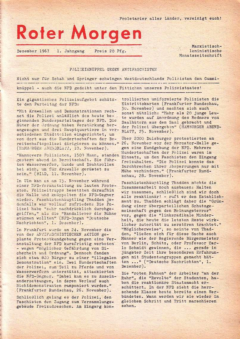 Roter Morgen, 1. Jg., Dez. 1967, Seite 1