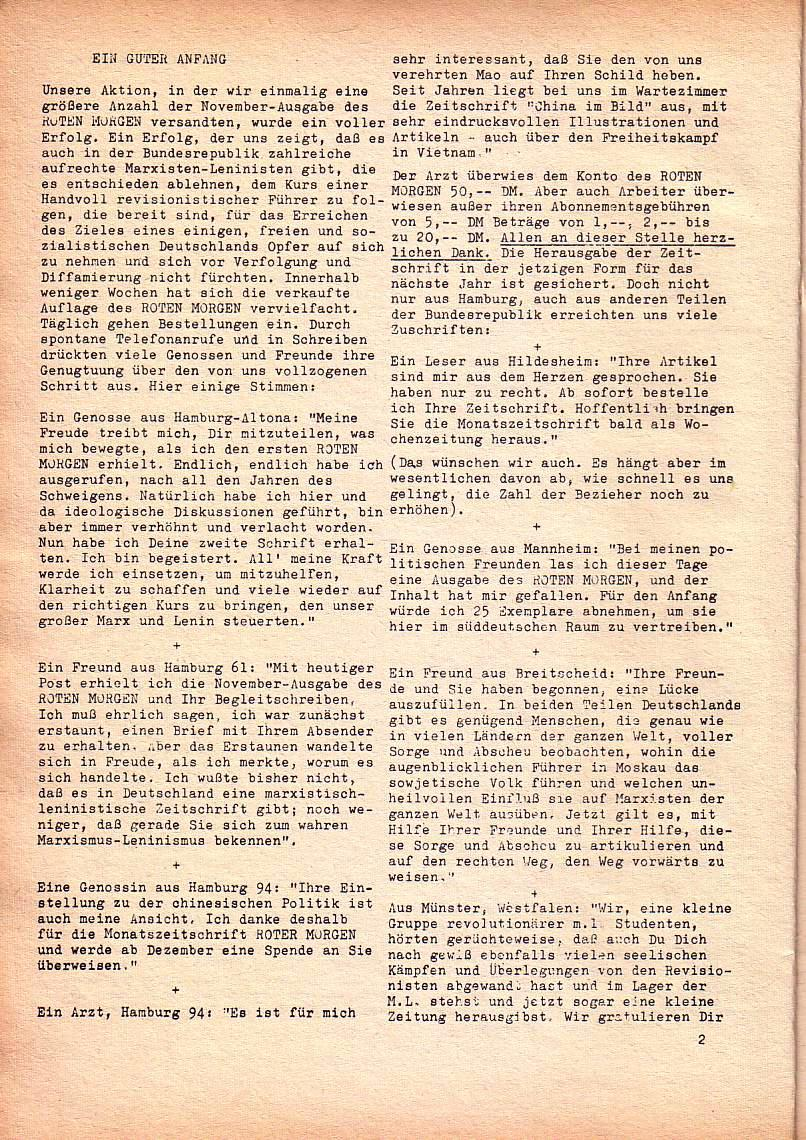 Roter Morgen, 1. Jg., Dez. 1967, Seite 2