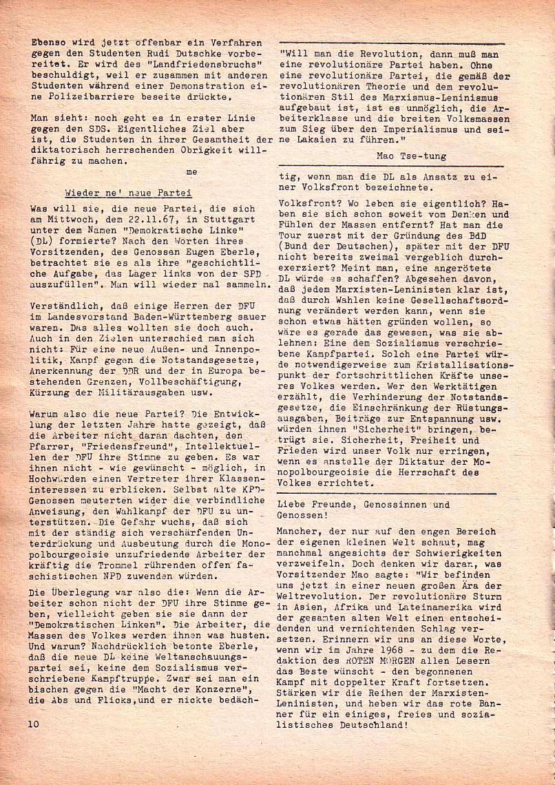 Roter Morgen, 1. Jg., Dez. 1967, Seite 10