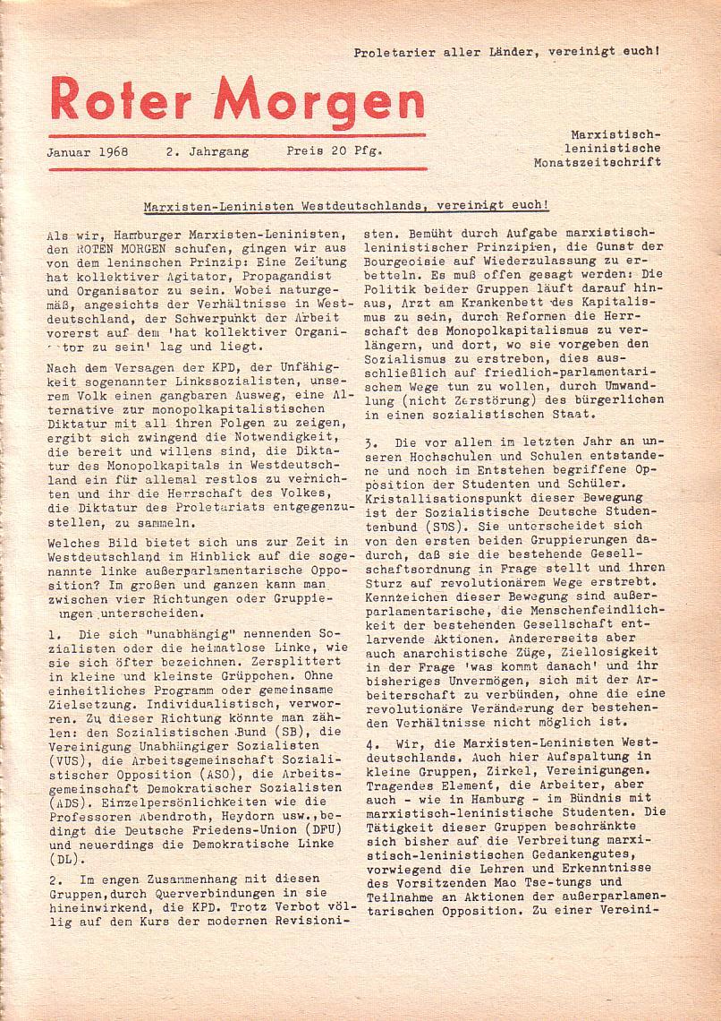 Roter Morgen, 2. Jg., Jan. 1968, Seite 1