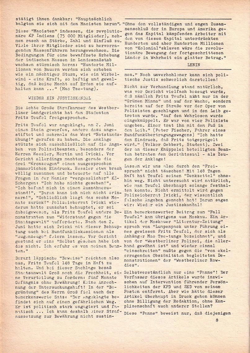 Roter Morgen, 2. Jg., Jan. 1968, Seite 8