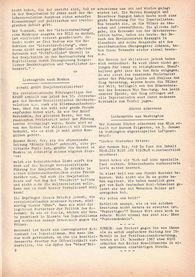 Roter Morgen, 2. Jg., Jan. 1968, Seite 9