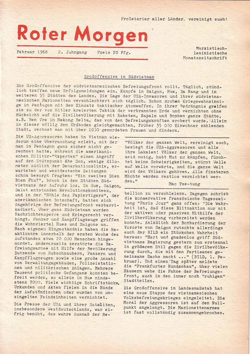 Roter Morgen, 2. Jg., Feb. 1968, Seite 1