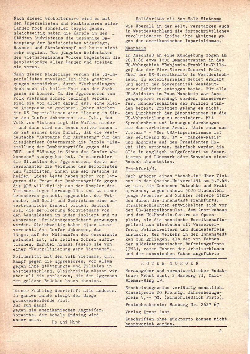 Roter Morgen, 2. Jg., Feb. 1968, Seite 2