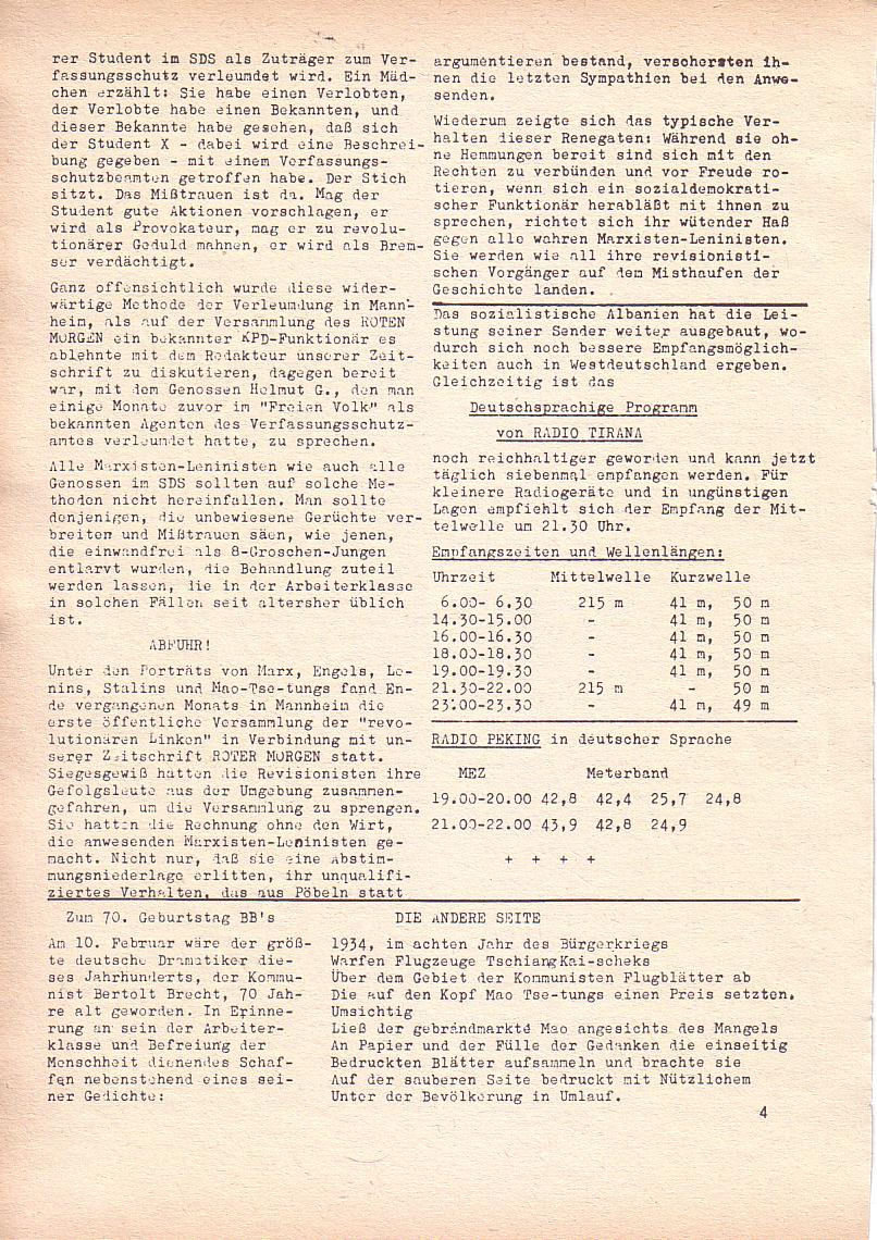 Roter Morgen, 2. Jg., Feb. 1968, Seite 4