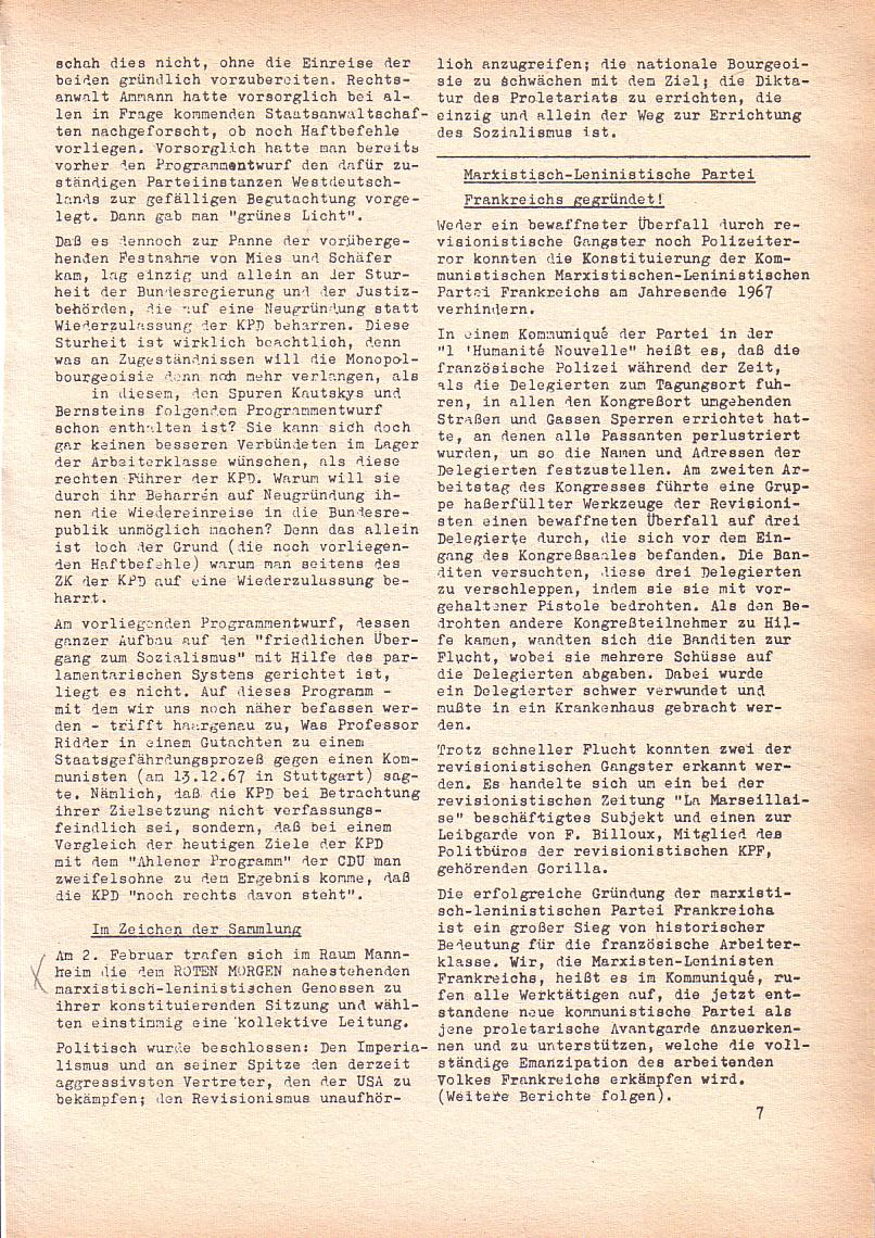 Roter Morgen, 2. Jg., Feb. 1968, Seite 7