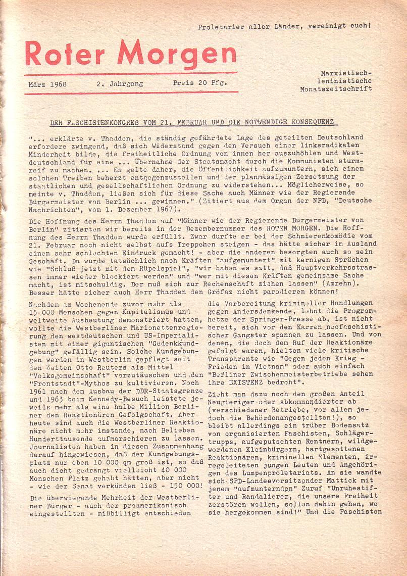 Roter Morgen, 2. Jg., März 1968, Seite 1