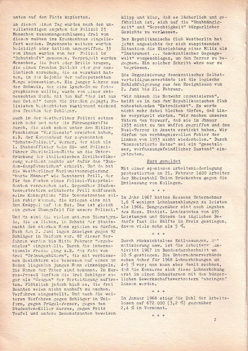 Roter Morgen, 2. Jg., März 1968, Seite 2