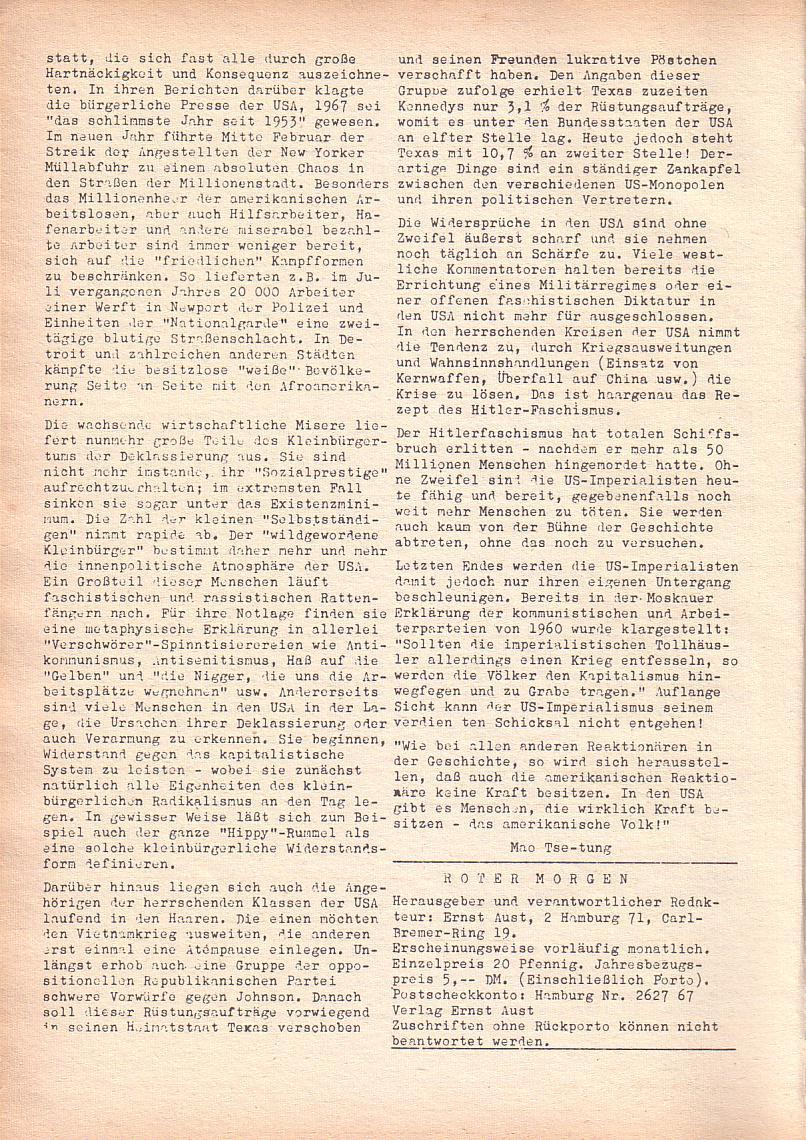 Roter Morgen, 2. Jg., März 1968, Seite 4