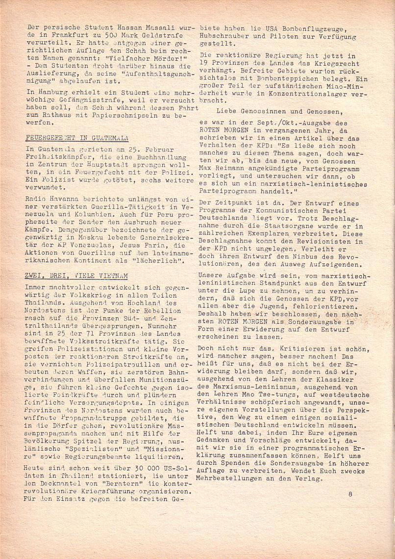 Roter Morgen, 2. Jg., März 1968, Seite 8