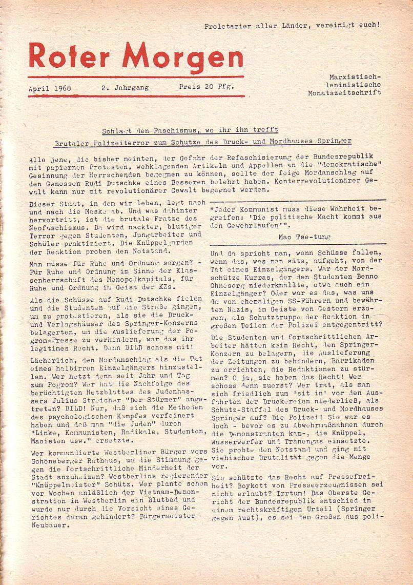 Roter Morgen, 2. Jg., April 1968, Seite 1