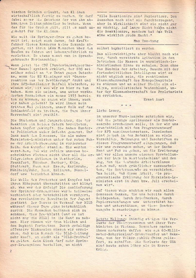 Roter Morgen, 2. Jg., April 1968, Seite 2