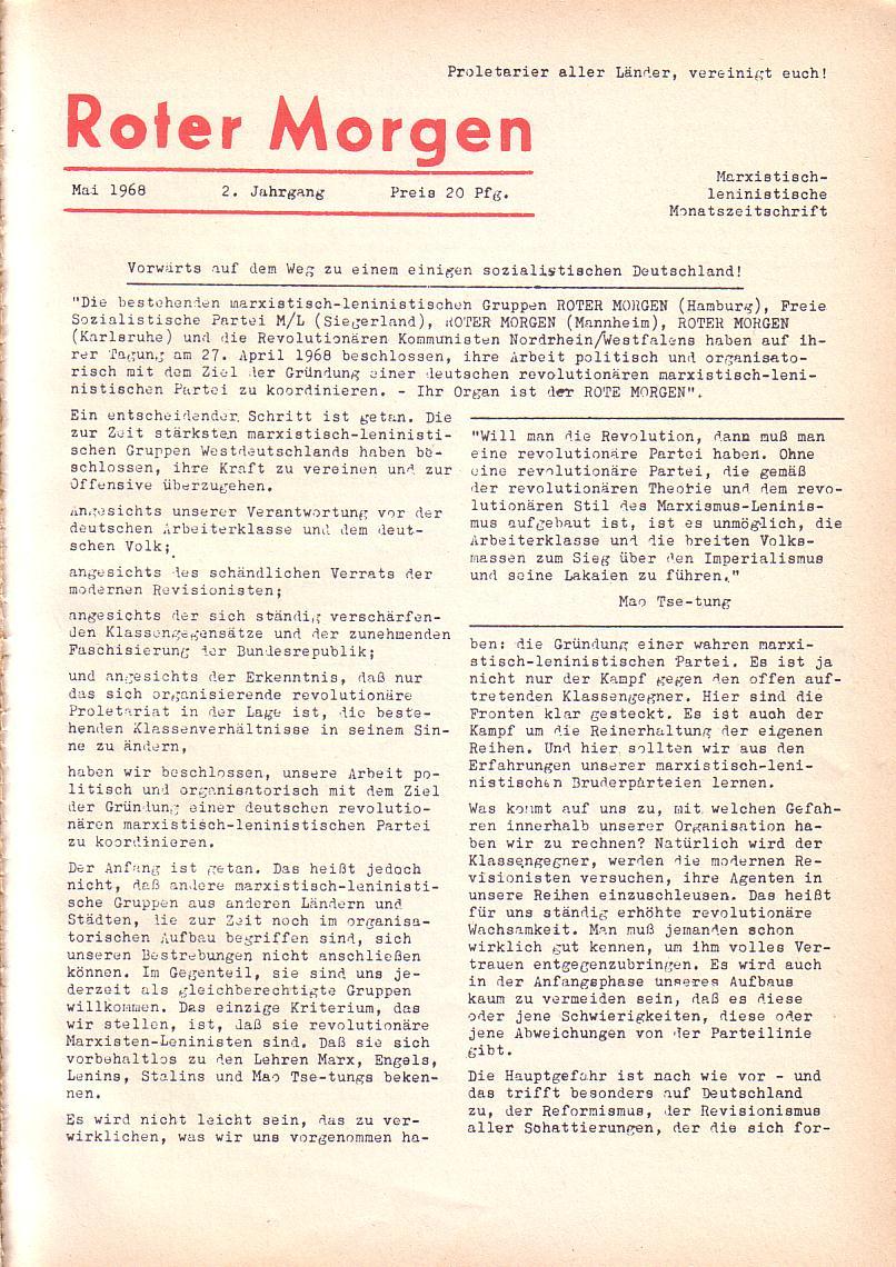 Roter Morgen, 2. Jg., Mai 1968, Seite 1