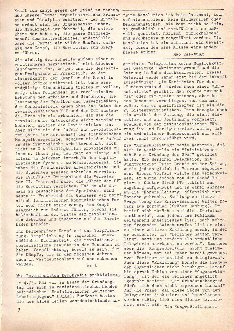 Roter Morgen, 2. Jg., Mai 1968, Seite 3