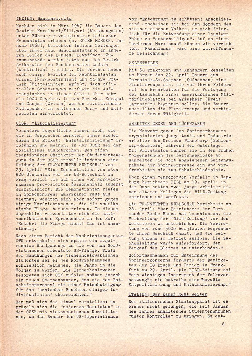 Roter Morgen, 2. Jg., Mai 1968, Seite 8