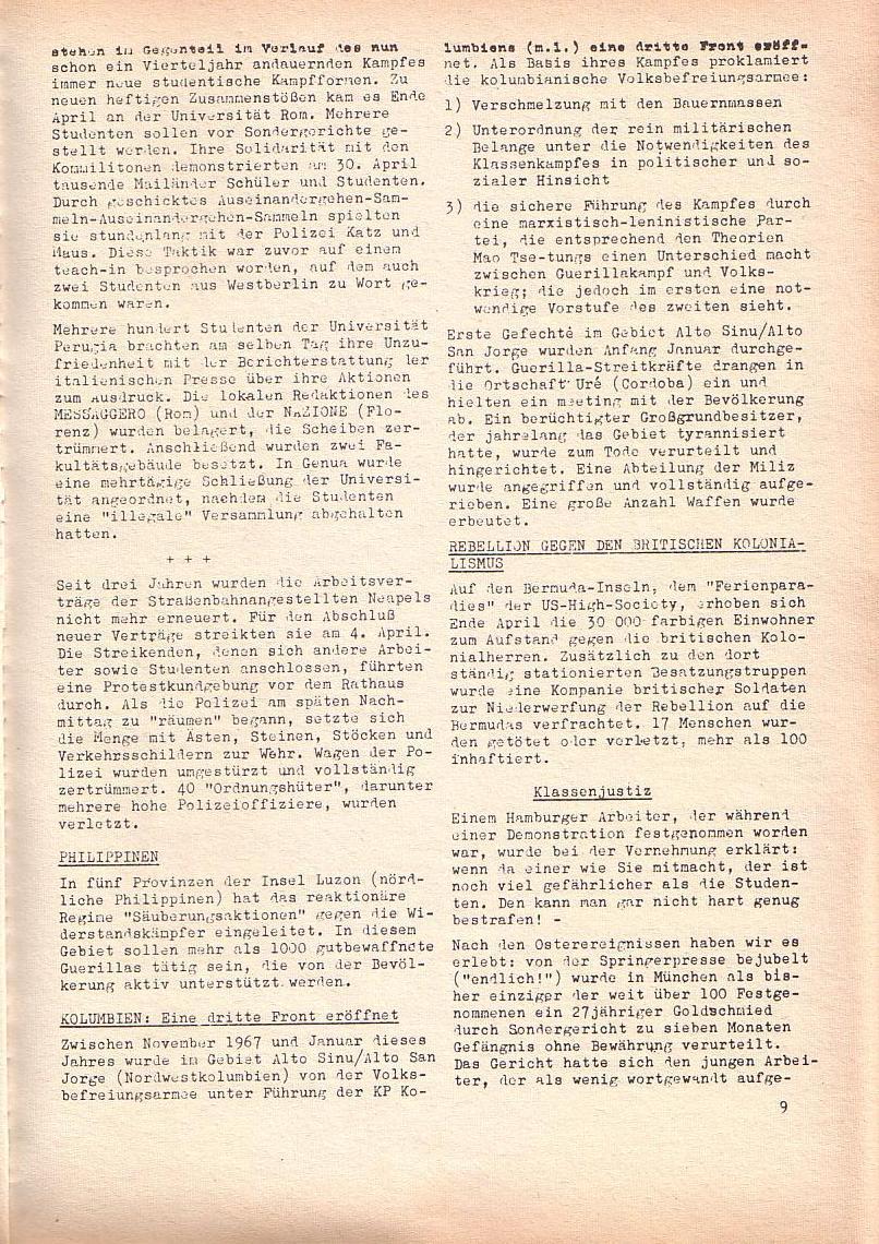 Roter Morgen, 2. Jg., Mai 1968, Seite 9