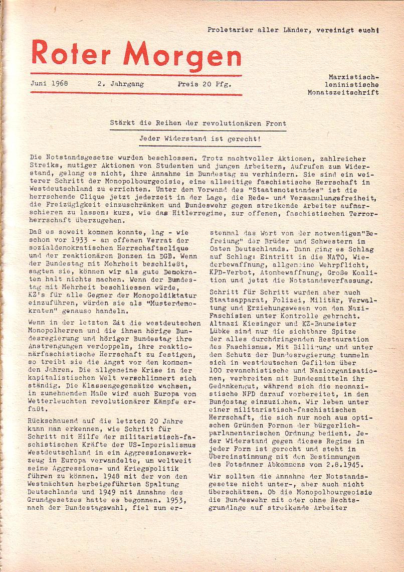 Roter Morgen, 2. Jg., Juni 1968, Seite 1