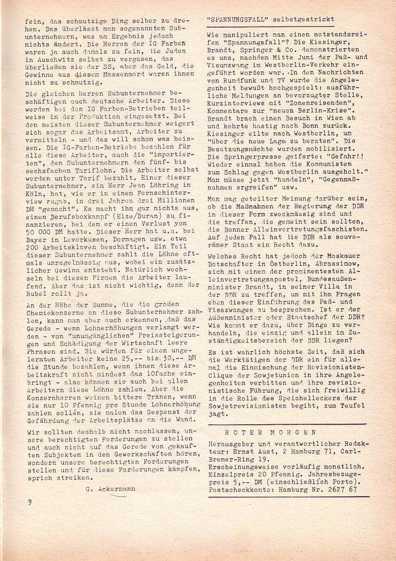 Roter Morgen, 2. Jg., Juni 1968, Seite 9