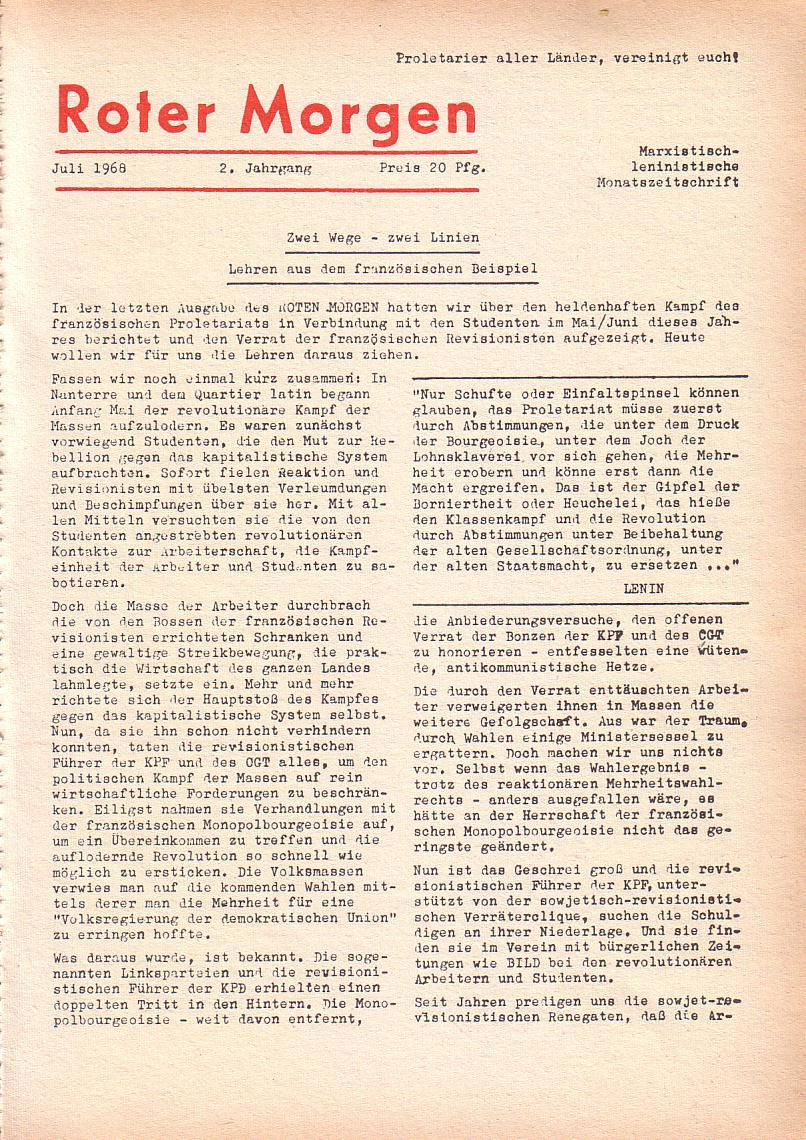 Roter Morgen, 2. Jg., Juli 1968, Seite 1