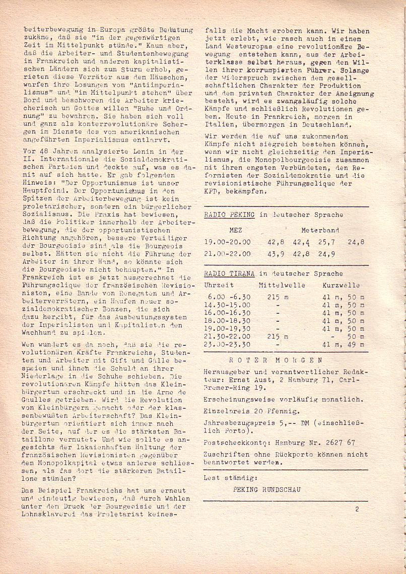 Roter Morgen, 2. Jg., Juli 1968, Seite 2