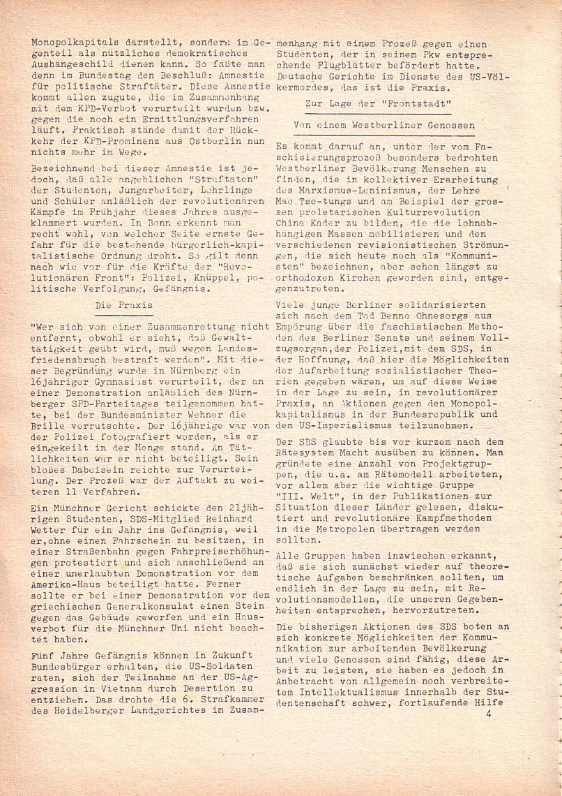 Roter Morgen, 2. Jg., Juli 1968, Seite 4
