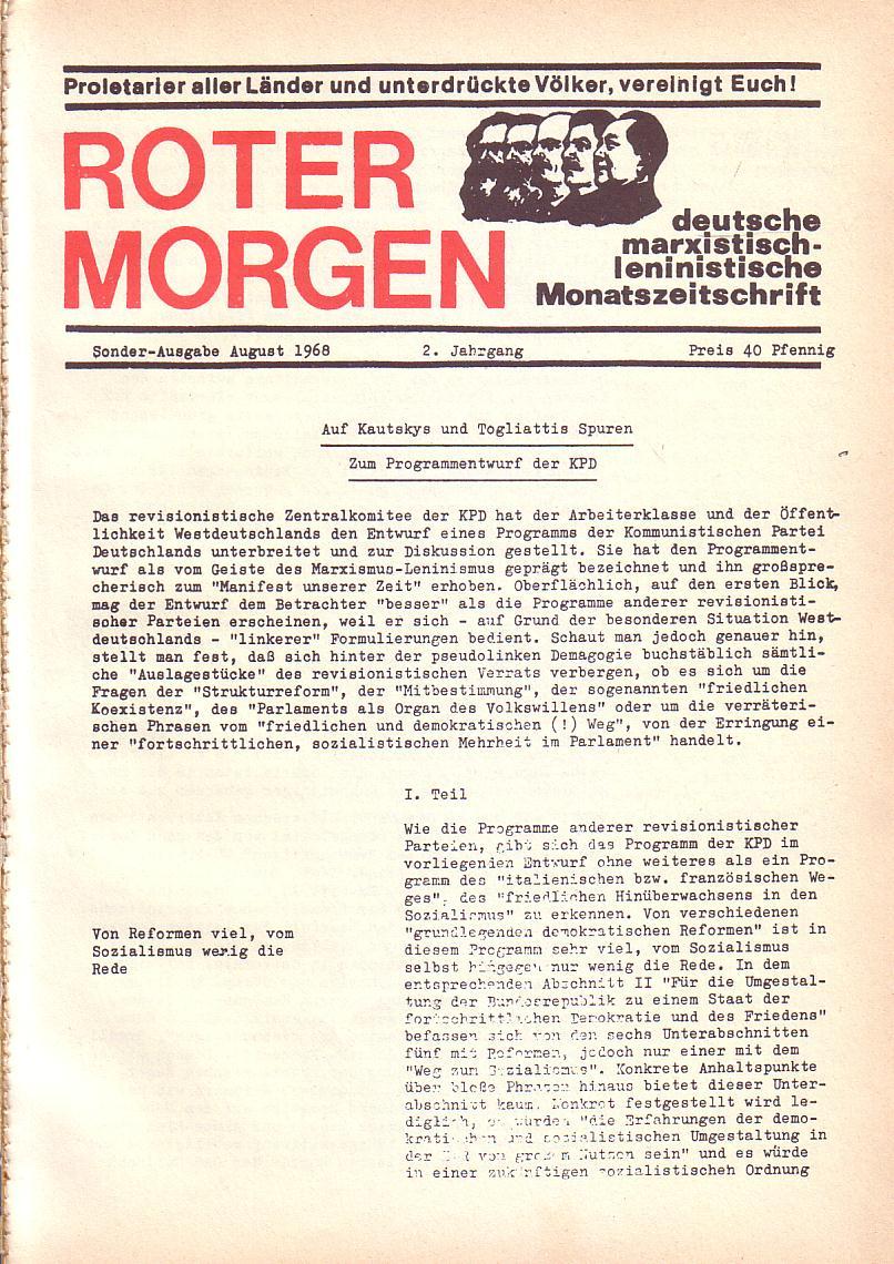 Roter Morgen, 2. Jg., Sonderausgabe August 1968, Seite 1