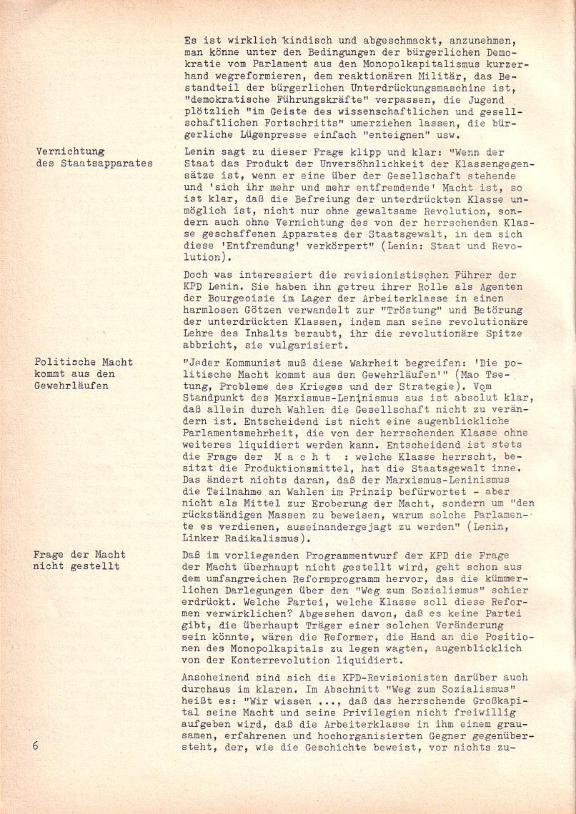 Roter Morgen, 2. Jg., Sonderausgabe August 1968, Seite 6