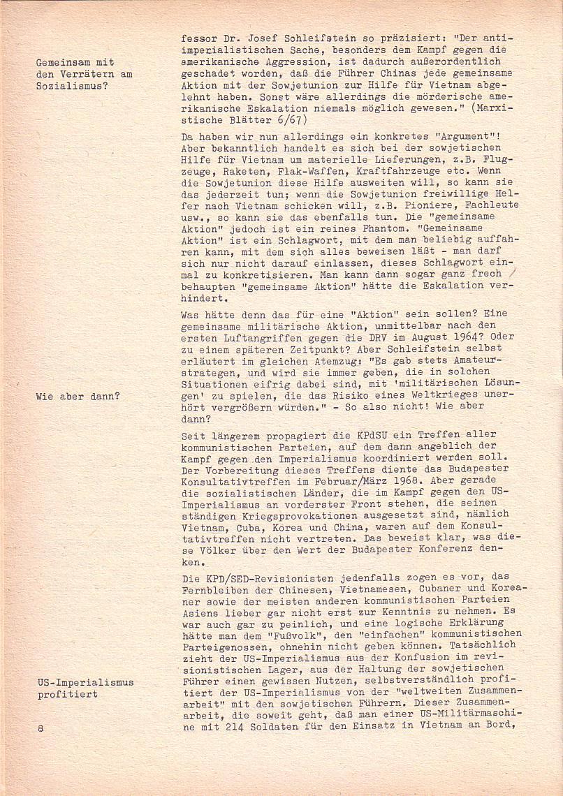 Roter Morgen, 2. Jg., Sonderausgabe August 1968, Seite 8