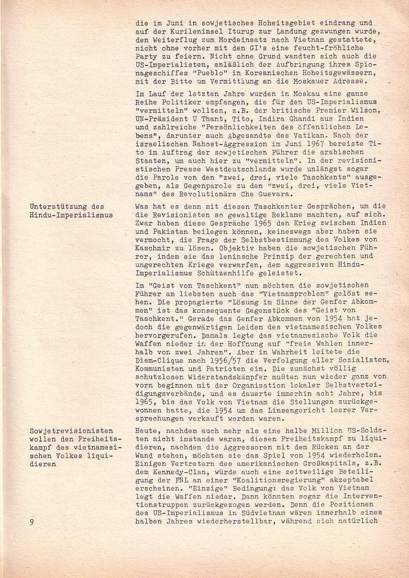 Roter Morgen, 2. Jg., Sonderausgabe August 1968, Seite 9