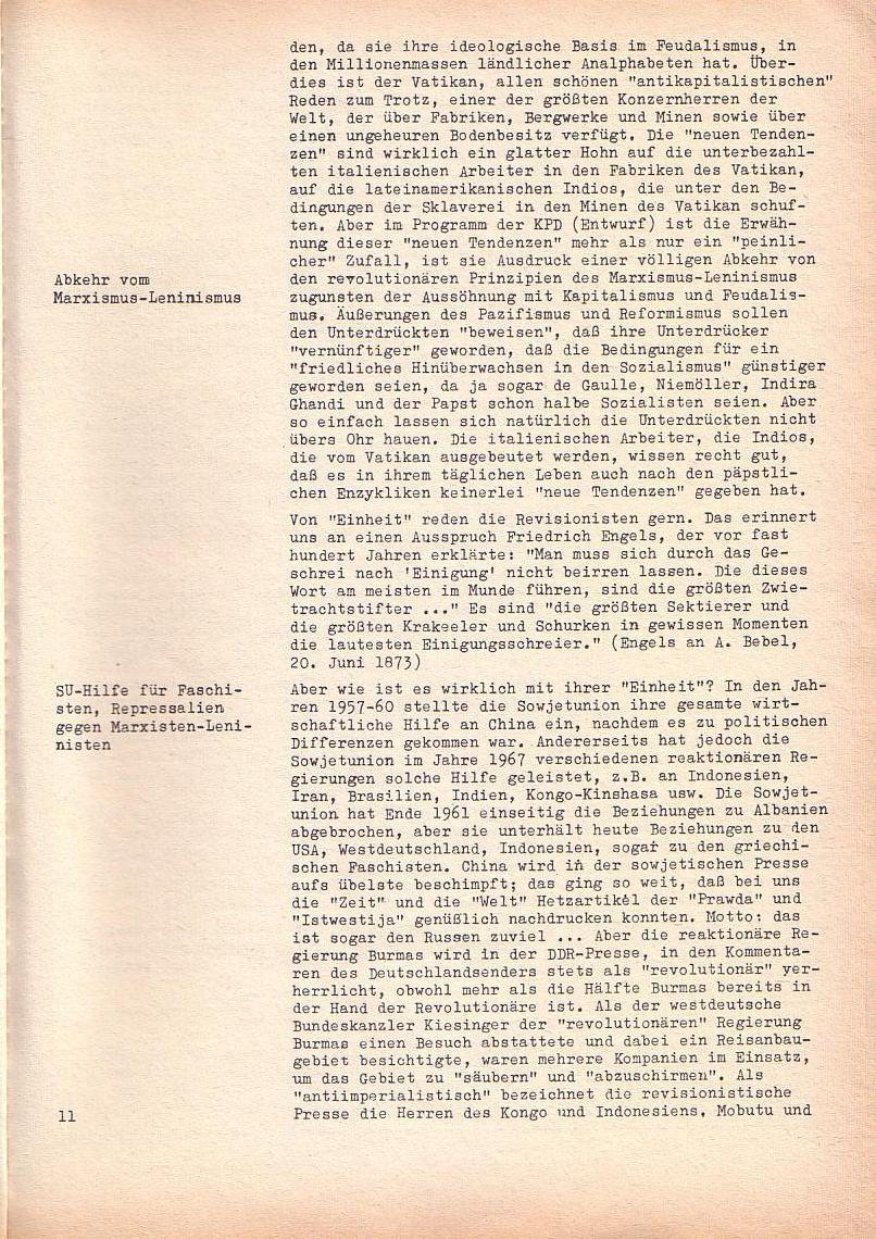 Roter Morgen, 2. Jg., Sonderausgabe August 1968, Seite 11