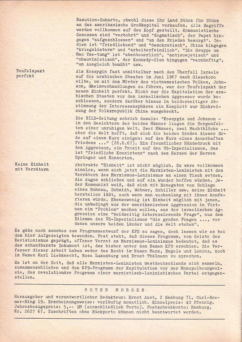 Roter Morgen, 2. Jg., Sonderausgabe August 1968, Seite 12