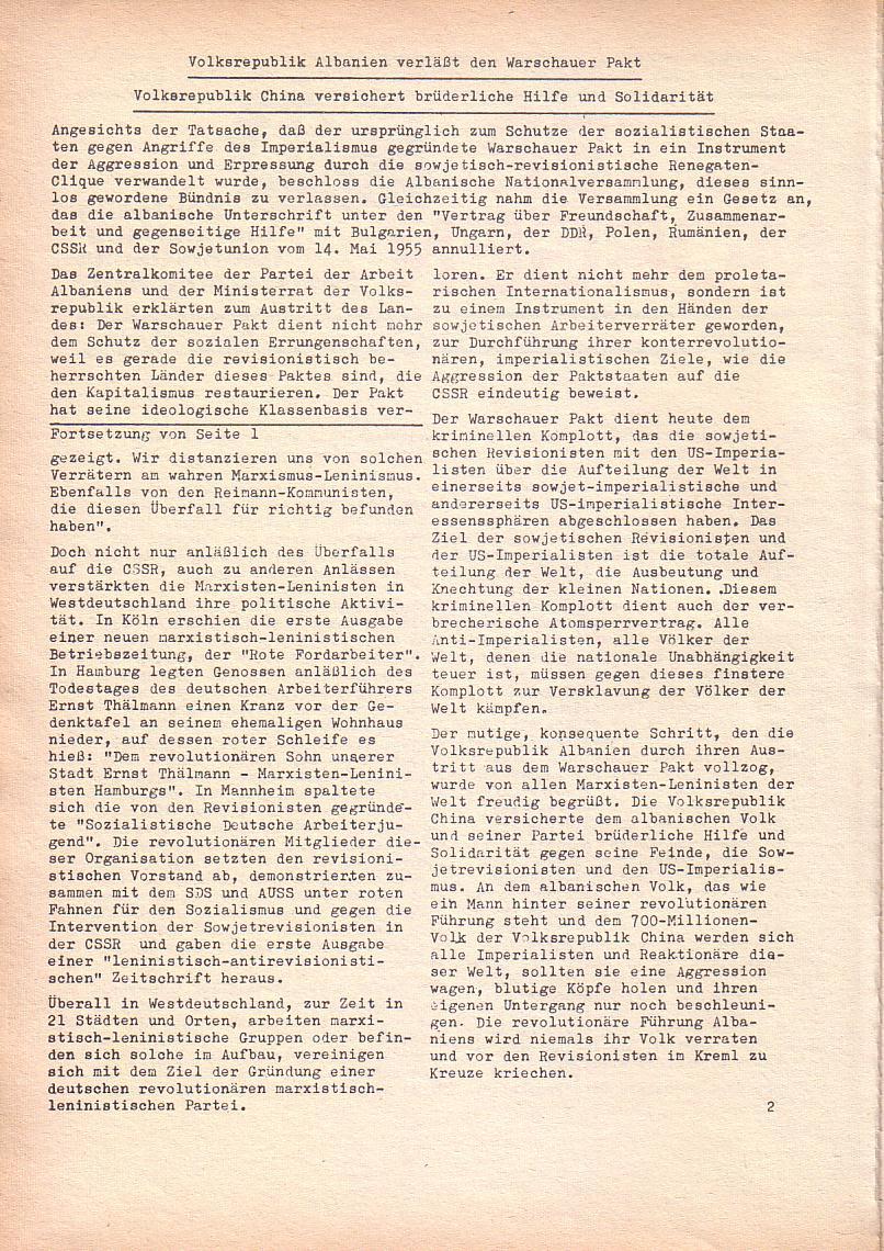 Roter Morgen, 2. Jg., Sept. 1968, Seite 2