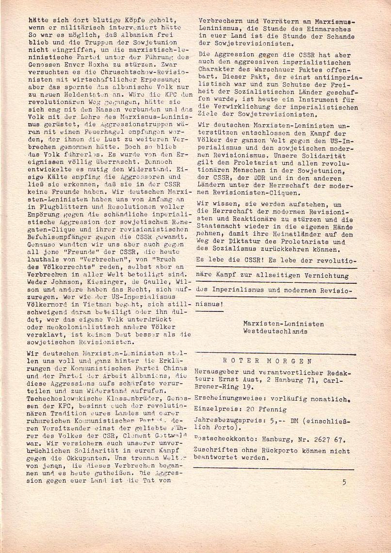 Roter Morgen, 2. Jg., Sept. 1968, Seite 5