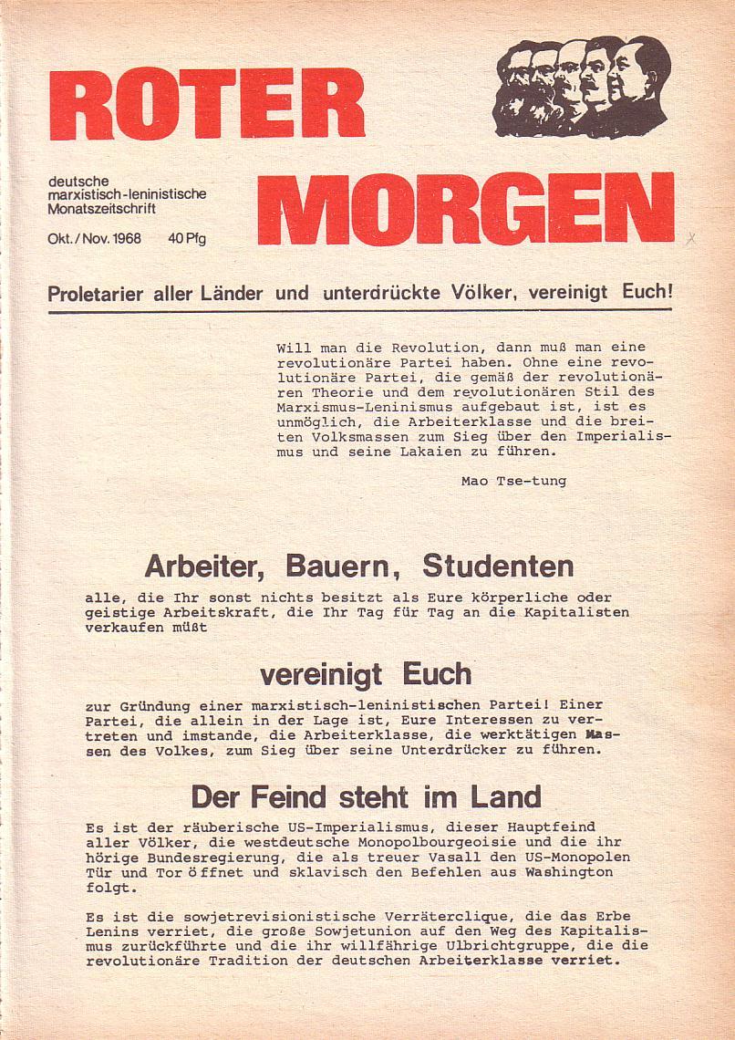 Roter Morgen, 2. Jg., Okt./Nov. 1968, Seite 1