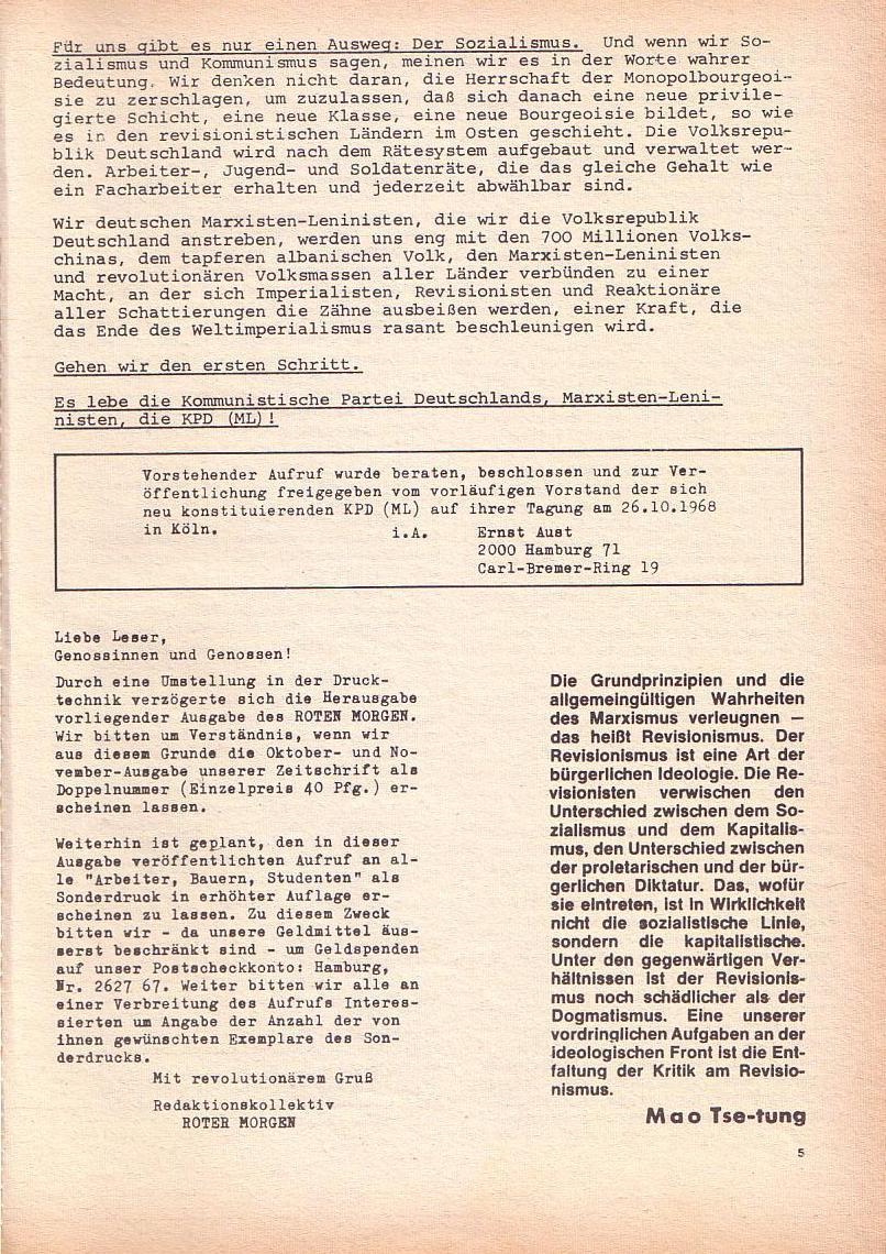 Roter Morgen, 2. Jg., Okt./Nov. 1968, Seite 5