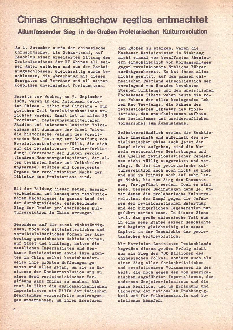 Roter Morgen, 2. Jg., Okt./Nov. 1968, Seite 6