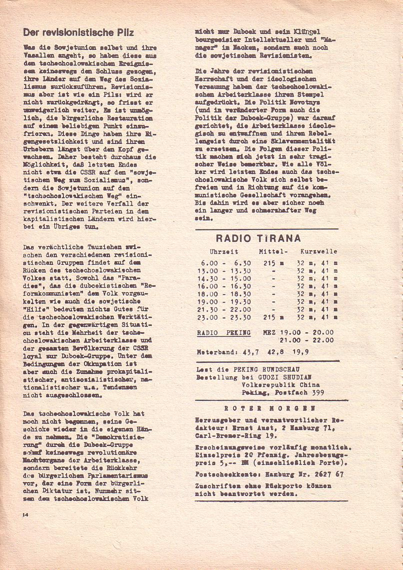 Roter Morgen, 2. Jg., Okt./Nov. 1968, Seite 14