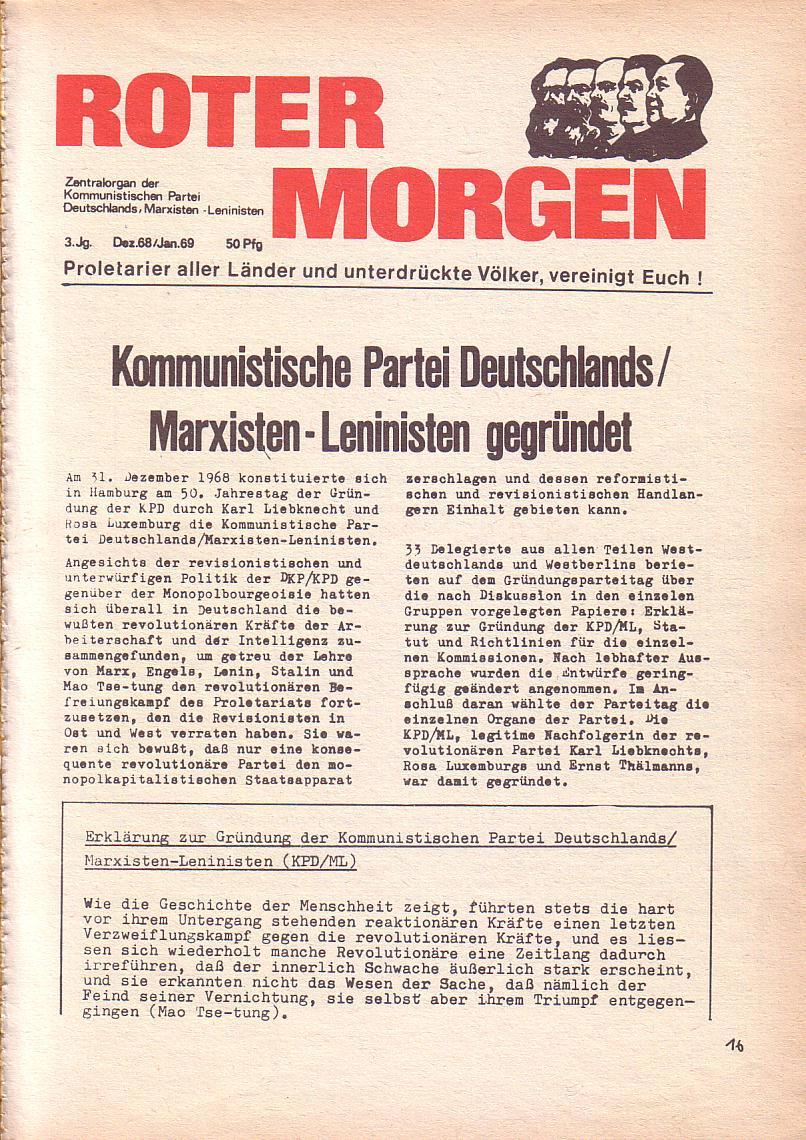 Roter Morgen, 3. Jg., Dez. 68/Jan. 69, Seite 1