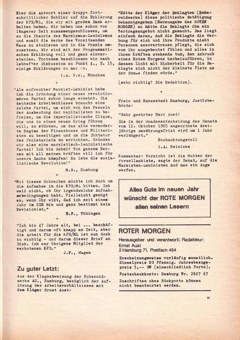 Roter Morgen, 3. Jg., Dez. 68/Jan. 69, Seite 11
