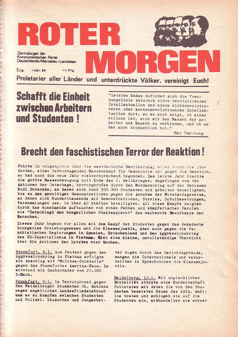 Roter Morgen, 3. Jg., Feb. 1969, Seite 1
