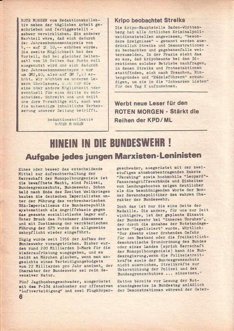 Roter Morgen, 3. Jg., Feb. 1969, Seite 6