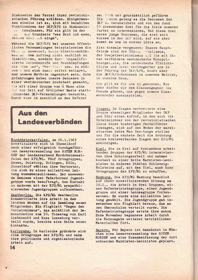Roter Morgen, 3. Jg., Feb. 1969, Seite 14