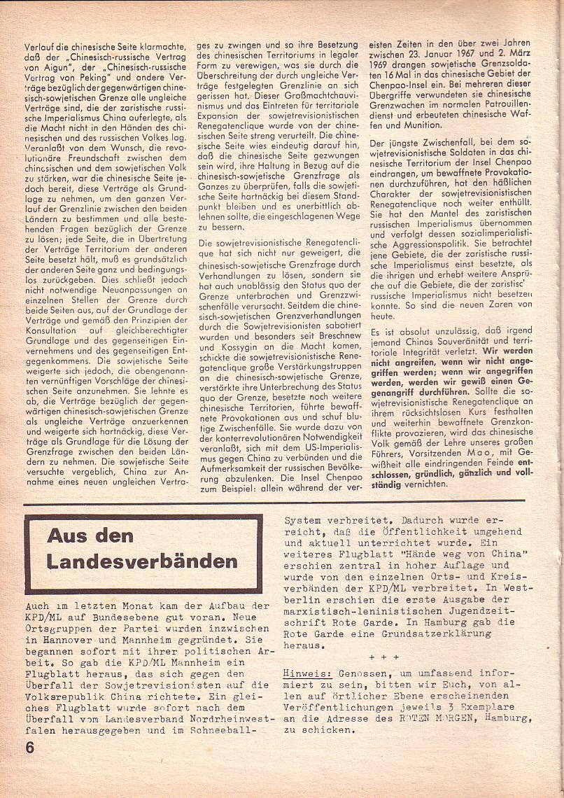 Roter Morgen, 3. Jg., März 1969, Seite 6