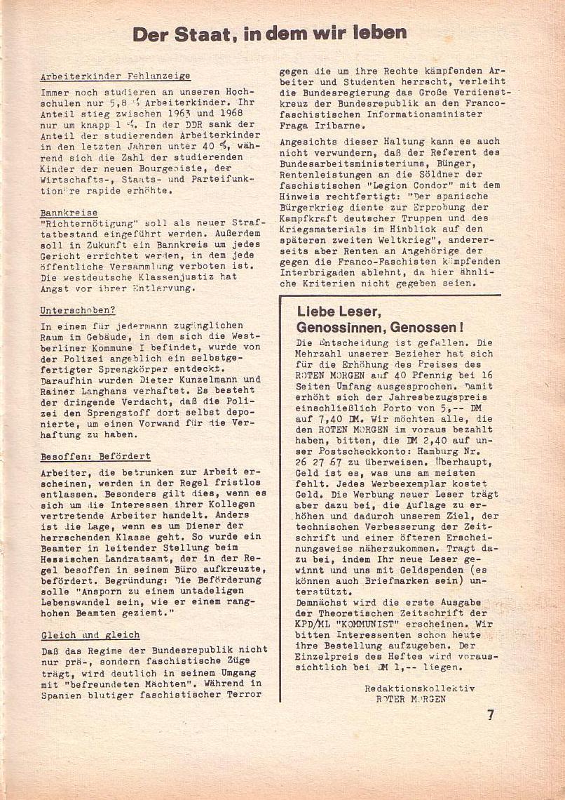 Roter Morgen, 3. Jg., März 1969, Seite 7