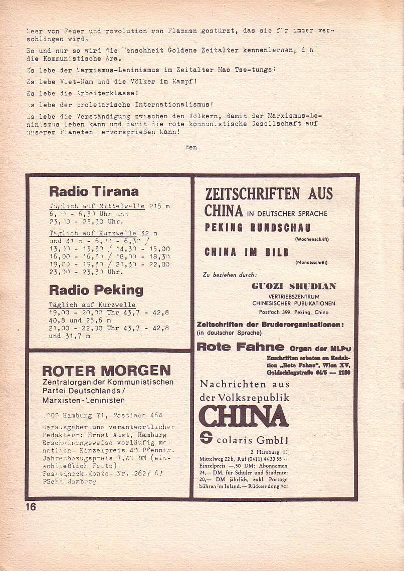 Roter Morgen, 3. Jg., März 1969, Seite 16