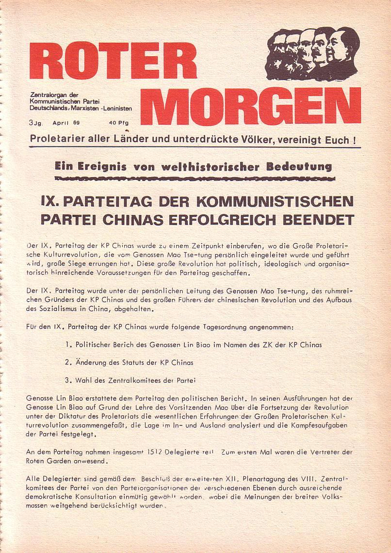 Roter Morgen, 3. Jg., April 1969, Seite 1