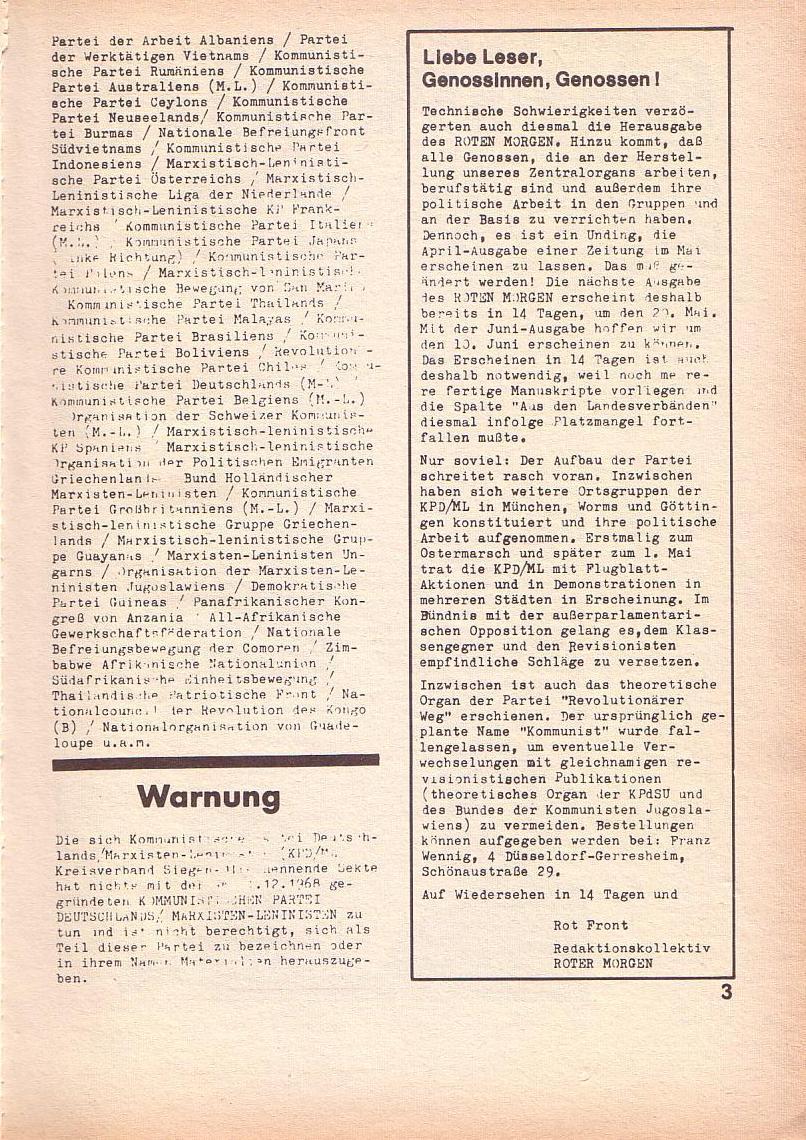 Roter Morgen, 3. Jg., April 1969, Seite 3