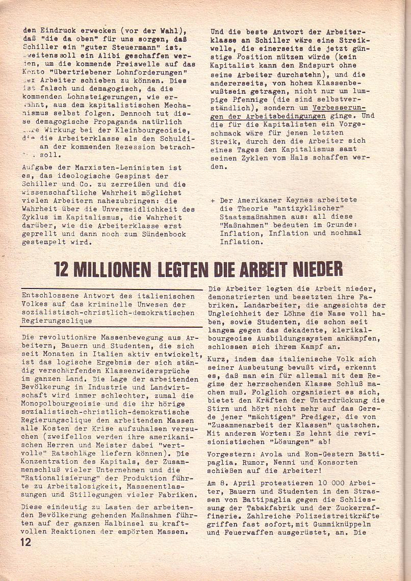 Roter Morgen, 3. Jg., April 1969, Seite 12