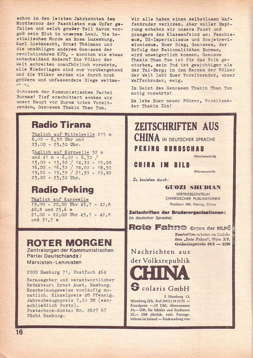 Roter Morgen, 3. Jg., April 1969, Seite 16