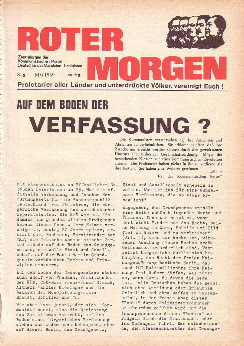 Roter Morgen, 3. Jg., Mai 1969, Seite 1